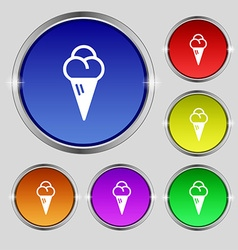 Ice cream icon sign round symbol on bright vector