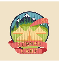 Summer camp adventure badge vector
