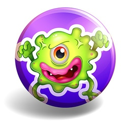 Green monster on purple badge vector