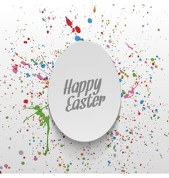 Easter realistic paper egg greeting label vector