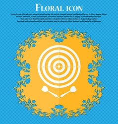 Darts icon floral flat design on a blue abstract vector