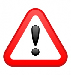 Warning red triangular sign vector