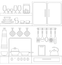 Cooking tools and items set vector