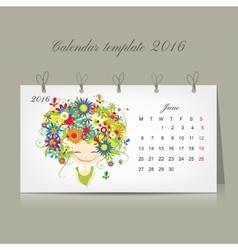 Calendar 2016 june month season girls design vector