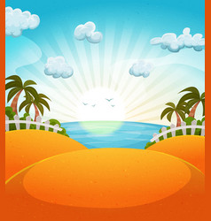 Cartoon summer beach landscape vector