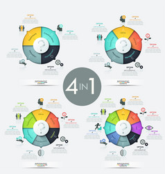 collection of 4 pie charts with multicolored vector image