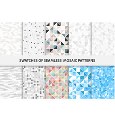 collection of mosaic seamless swatches vector image vector image