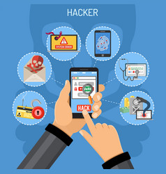 cyber crime concept with hacker vector image vector image