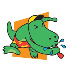 Dinosaur blow whistle vector image