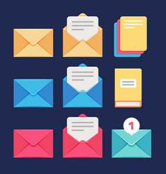 Envelope email and letter icons postal vector