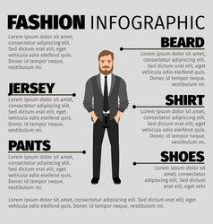 fashion infographic with hipster man vector image