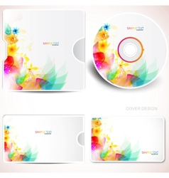 floral cd disc cover template vector image