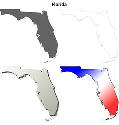 Florida outline map set vector image vector image