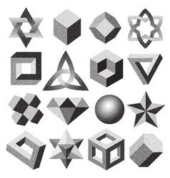 Halftone stippled dotted geometric figure dotwork vector
