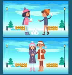 happy boy girl play snowballs couple drink coffee vector image vector image