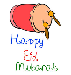 Happy eid mubarak colorful style vector