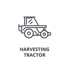 Harvesting tractor line icon outline sign linear vector