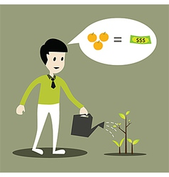 Human working of watering young plant concept vector image vector image