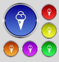 Ice cream icon sign round symbol on bright vector