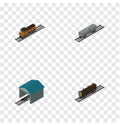 Isometric transport set of train oil wagon vector
