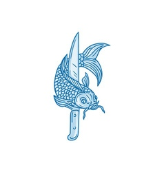 Koi nishikigoi carp fish knife drawing vector