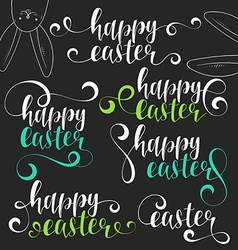 Lettering calligraphy set Happy easter vector image