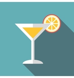 Martini glass with cocktail and orange slice icon vector