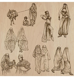 Muslim Women - Hand drawn vector image vector image