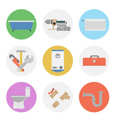 Nine color flat icon set - plumbing vector