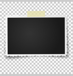 Realistic photo frame with retro figured edges vector