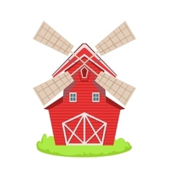 Red wooden windmill cartoon farm related element vector