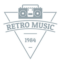 retro music logo simple gray style vector image