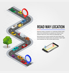 road way location and mobile gps navigation flat vector image