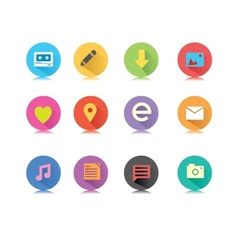 Round long shadow button icons vector image vector image