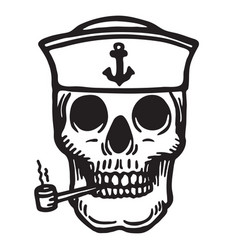 Sailor skull with pipe vector