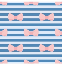 Seamless pattern with pastel pink bows on stripes vector