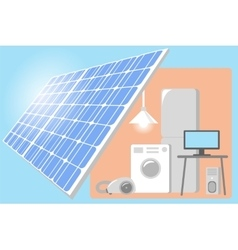 Solar Panel on a roof of house - renewable energy vector image