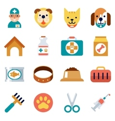 Veterinary flat icons pet health care vector
