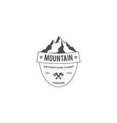 Vintage mountain trekking climbing hiking camping vector