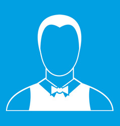 Waiter icon white vector