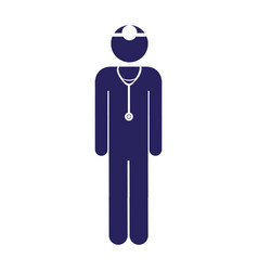 White background with blue pictogram male surgeon vector
