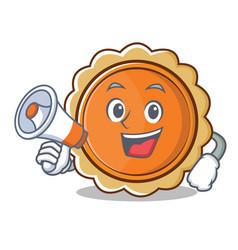 with megaphone pumpkin pie character cartoon vector image
