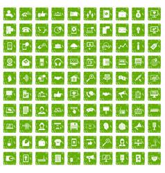 100 help desk icons set grunge green vector image vector image