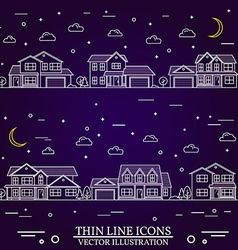 Neighborhood with homes on purple background vector