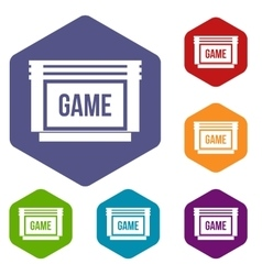 Game cartridge icons set vector