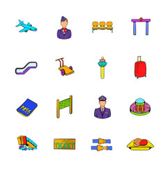 airport set icons set cartoon vector image