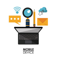 White background poster of mobile device with vector