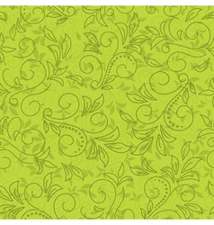 Green seamless floral pattern vector