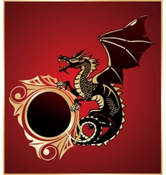 Heraldic sign with dragon vector
