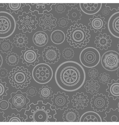 Dark seamless gear wheels pattern vector image